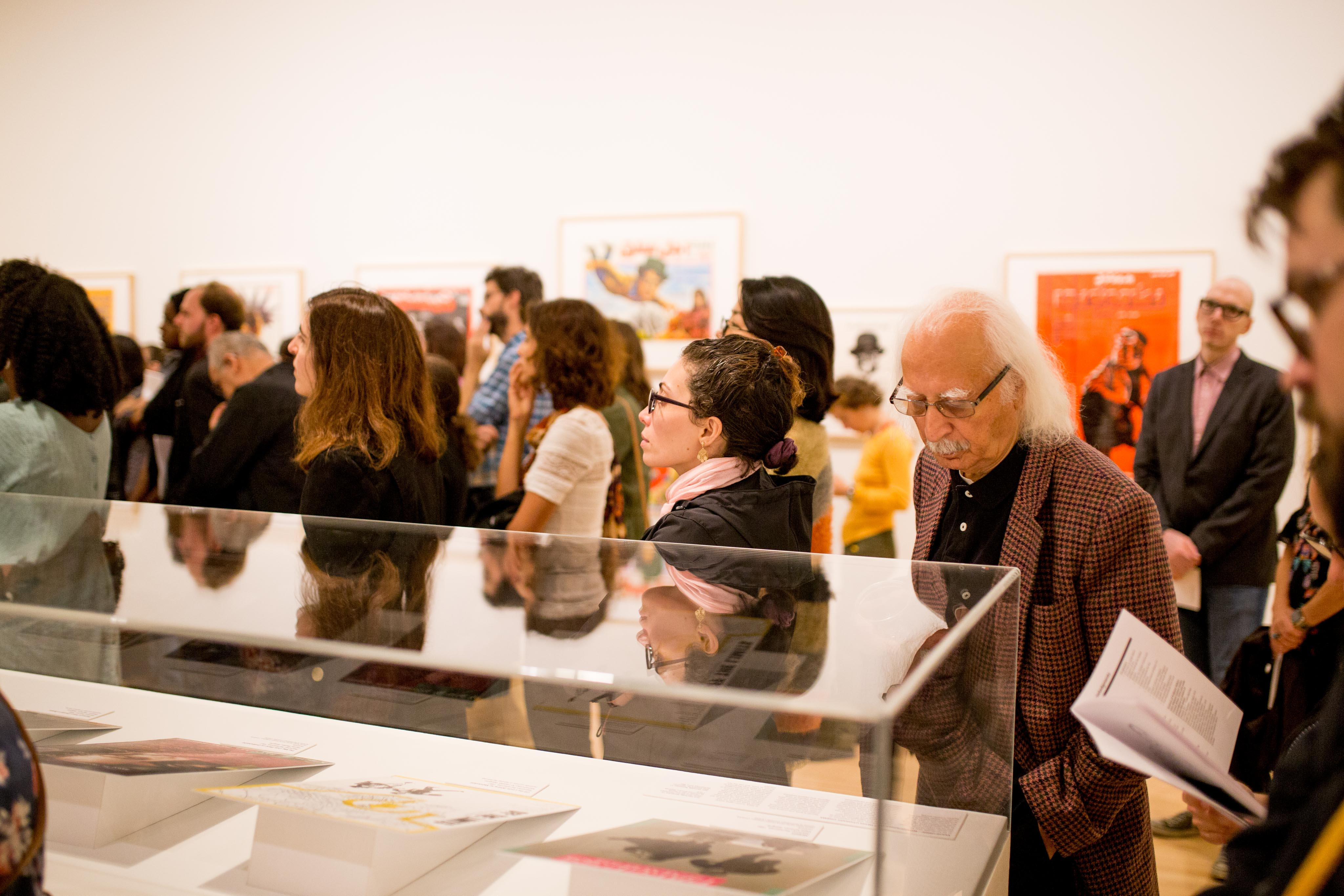 Attendees at the opening for the Salaam Cinema exhibition. Image courtesy of the Block Museum of Art.