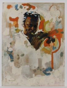Jeff Donaldson, Study for the Wall of Respect [Miles Davis], 1967, mixed media (including oil) on heavy cream wove paper 24x18, Collection Block Museum of Art, Courtesy of Artist's Estate.