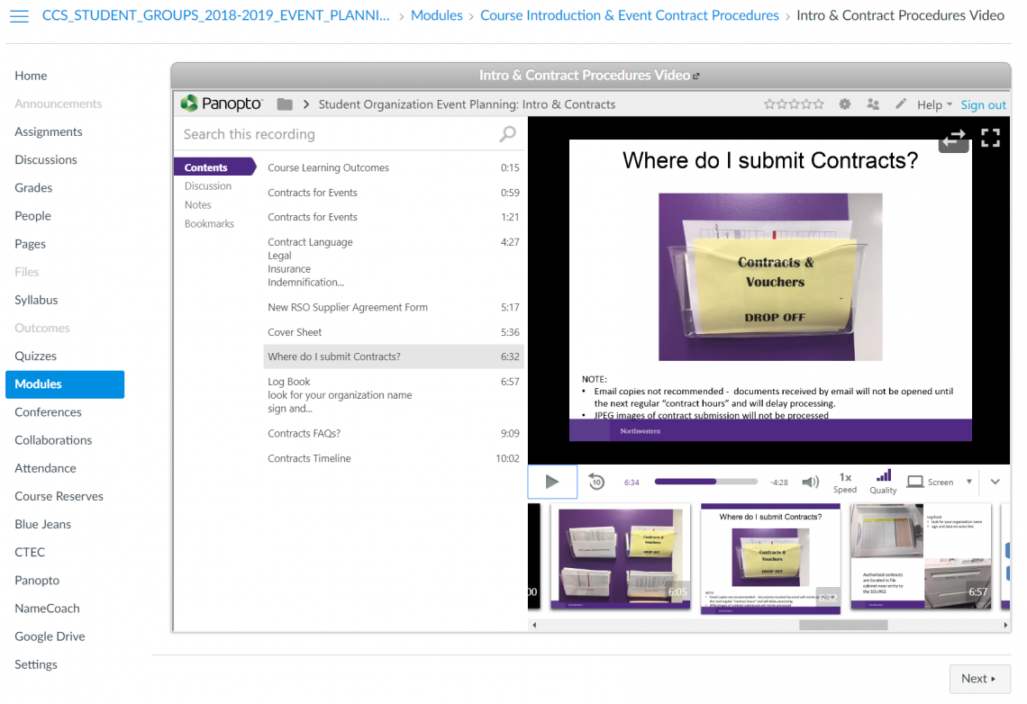 A video module on contract procedures for holding events