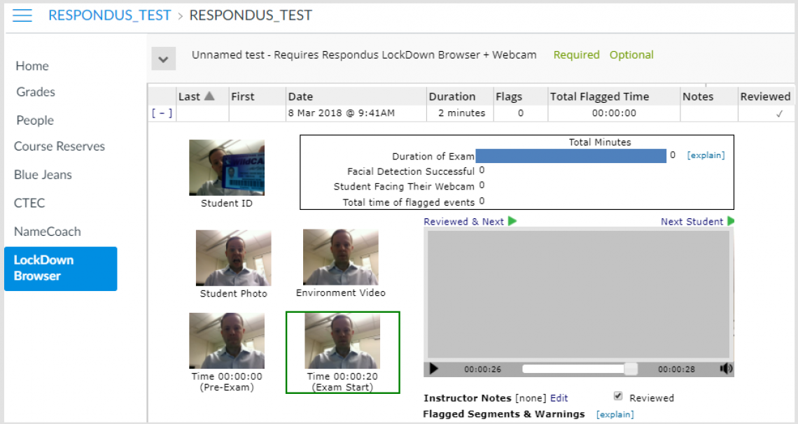 Screenshot of Respondus