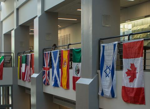 International flags hung in Rubloff
