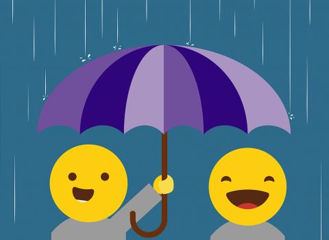 Graphic of people holding umbrella under heavy rain
