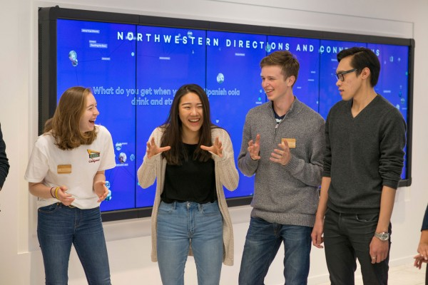 From left to right: Northwestern students Kristen Stuzynski, Birthe Ong Cheng, Mikowai Ashwill and Louis Lu.