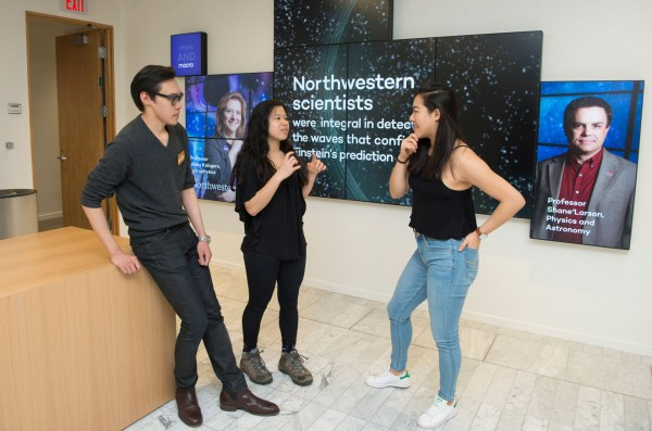From left to right: Northwestern students Lu, Anna Cebulski and Cheng.