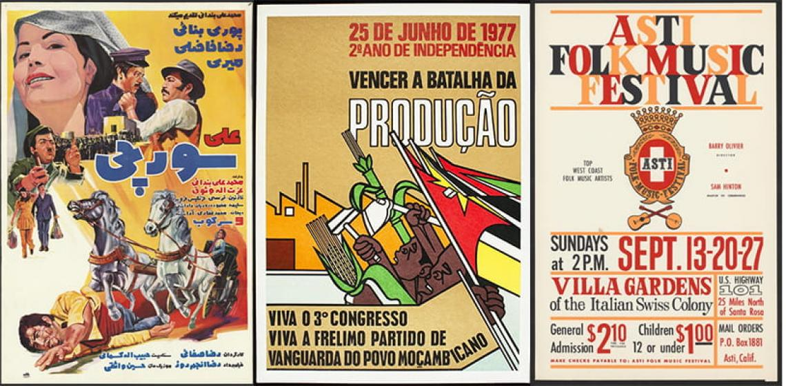 Posters from the Hamid Naficy collection, the Herskovits Library of African Studies, and the Berkeley Folk Music Festival archive