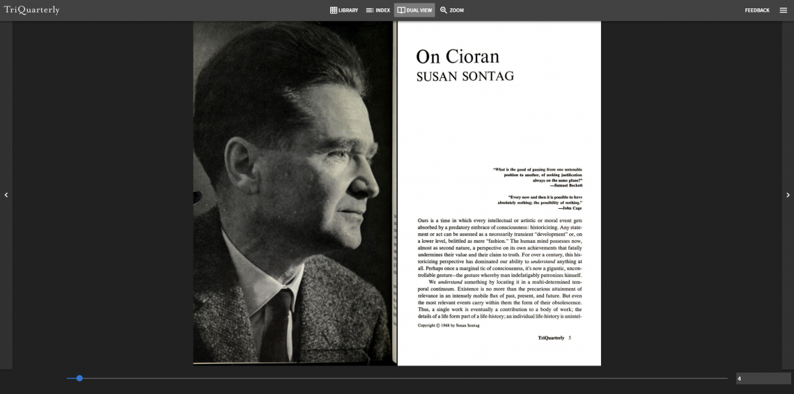 Screenshot of the TriQuarterly Archive Viewer