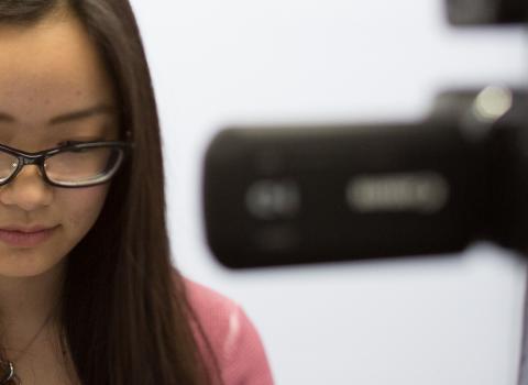Student recording a presentation