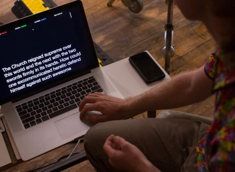 Captions displayed on a computer