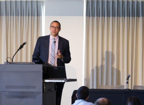Northwestern Provost Jonathan Holloway presenting
