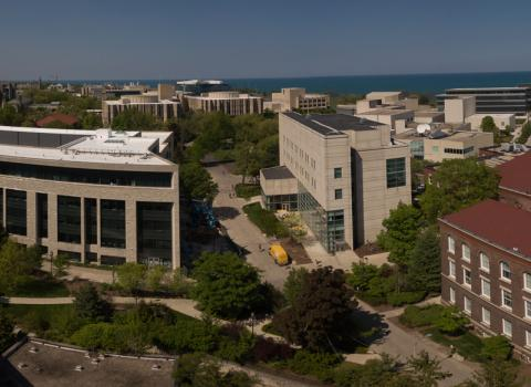 Aerial shot of Northwestern's Evanston campus