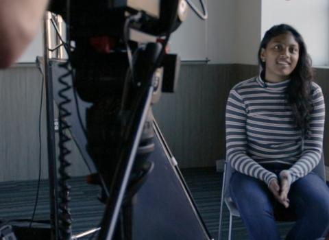 Northwestern student on-camera discussing educational technology