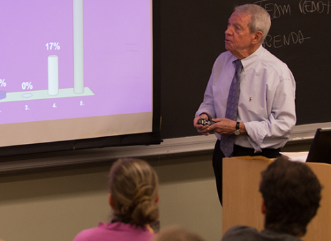 Bill White presenting in class
