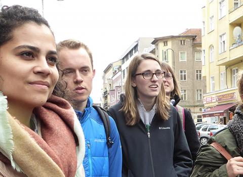 Franziska Lys and students in Germany