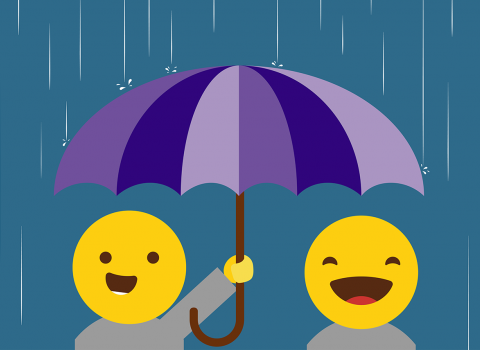 Graphic of people holding umbrella under heavy rain