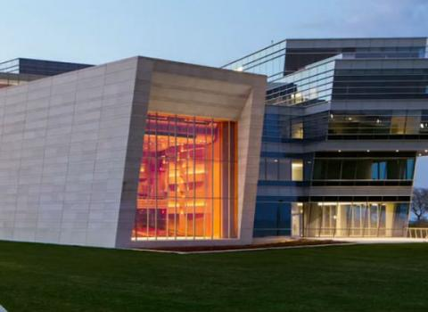 An exterior image of Galvin Recital Hall on Northwestern campus at dusk